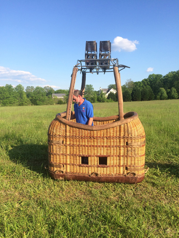 Bob setting up the large basket for a flight