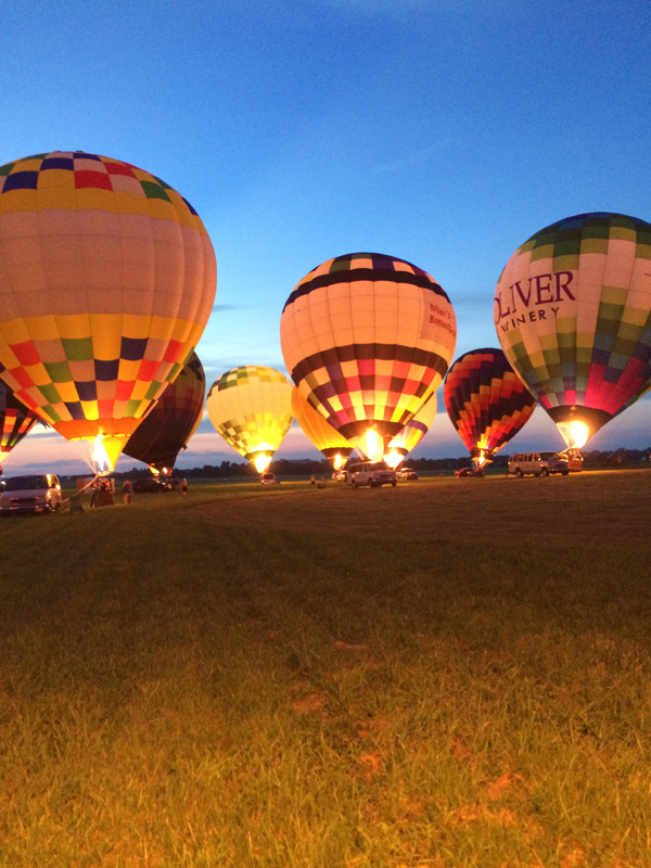 Balloons illuminated during a Glow